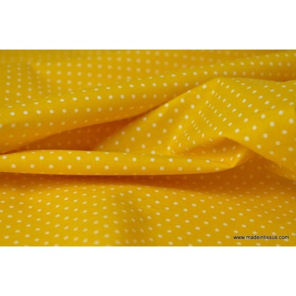 Tissu coton imprimé petits pois fond Jaune - Photo n°4