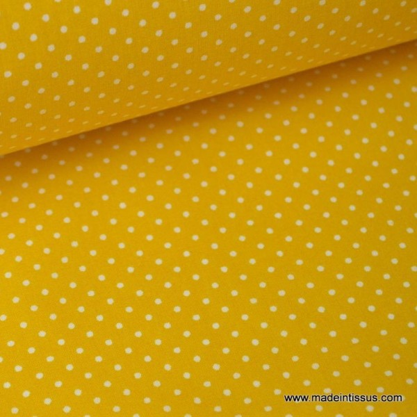 Tissu coton imprimé petits pois fond Jaune - Photo n°1