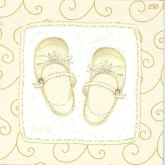 4 Serviettes en papier Chaussures enfants bébé Format Lunch