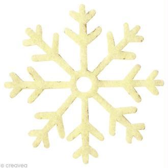 Flocon de neige en feutrine 4,5 cm écru x6