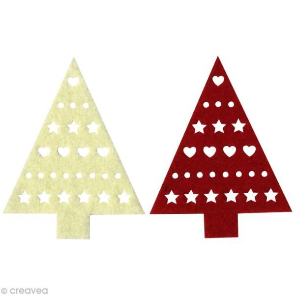 Sapin décoré en feutrine 8 cm Noël x4 - Photo n°1