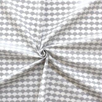 Tissu écailles gris et blanc