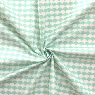 Tissu écailles menthe et blanc