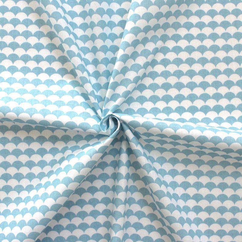tissu cailles bleu et blanc tissu coton creavea. Black Bedroom Furniture Sets. Home Design Ideas