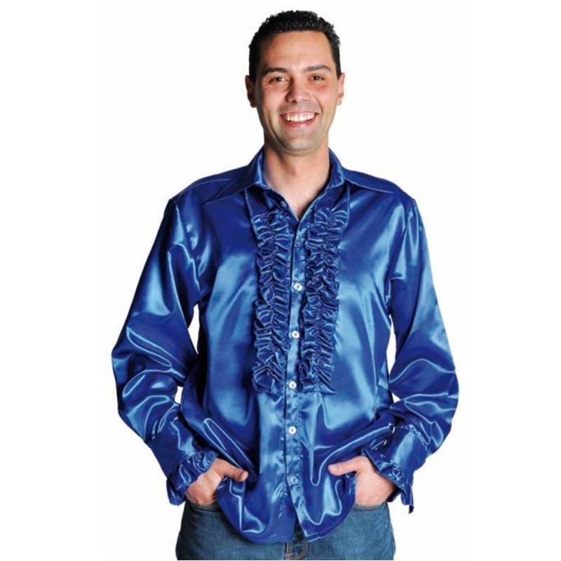 d guisement chemise disco bleu cobalt homme luxe costumes homme creavea. Black Bedroom Furniture Sets. Home Design Ideas
