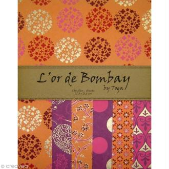 Papier l'Or de Bombay - Fuchsia / orange x 6 feuilles