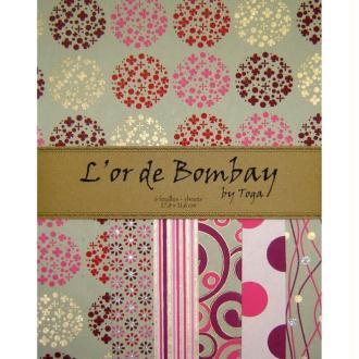 Papier l'Or de Bombay - Fuchsia / or / kraft x 6 feuilles
