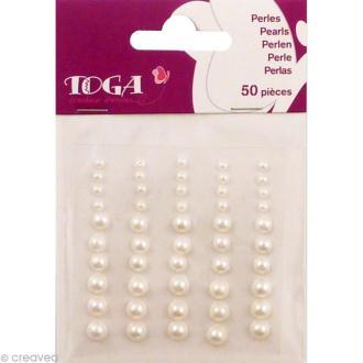 Strass à coller mini perles Blanches x 50