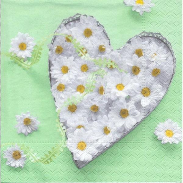 4 Serviettes en papier Coeur de Pâquerettes Format Lunch - Photo n°1