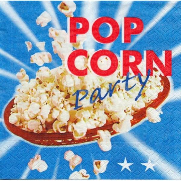 4 Serviettes en papier Cuisine Pop Corn Format Lunch - Photo n°1