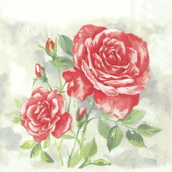 4x serviettes en papier pour découpage DECOPATCH Craft Fleurs de rouge