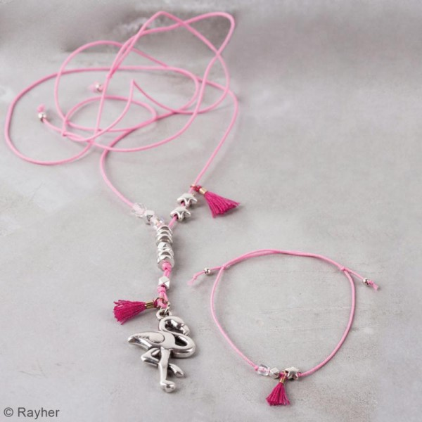 Kit bijou Collier et bracelet Vaia Rayher - Flamant rose - Photo n°3