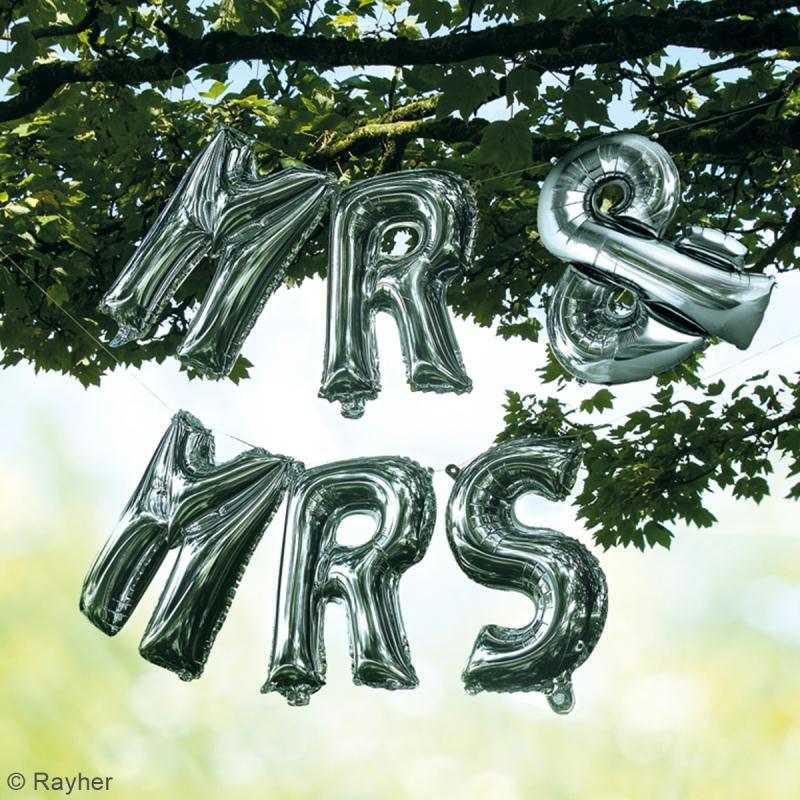 Ballons message Aluminium - Mr & Mrs - Argenté - Photo n°2