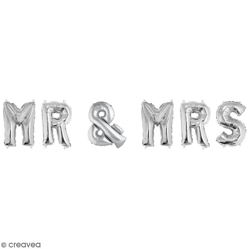 Ballons message Aluminium - Mr & Mrs - Argenté - Photo n°1