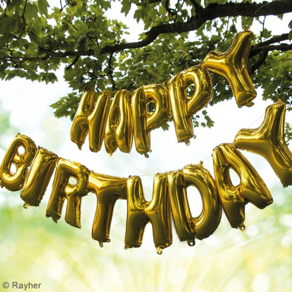 Ballons message Aluminium - Happy birthday - Doré - Photo n°2