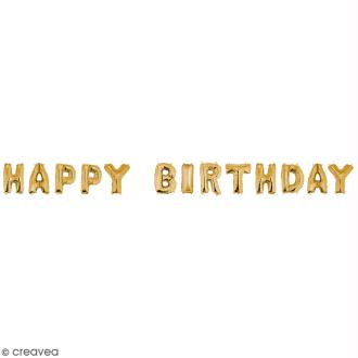 Ballons message Aluminium - Happy birthday - Doré