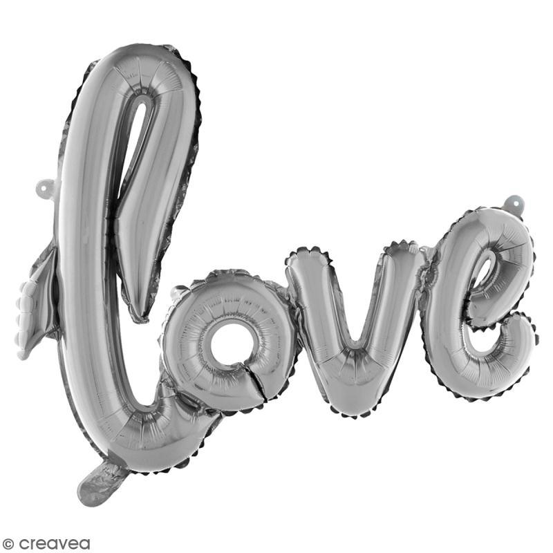 Ballon écriture Aluminium - Love - Argenté - 1 pce - Photo n°2