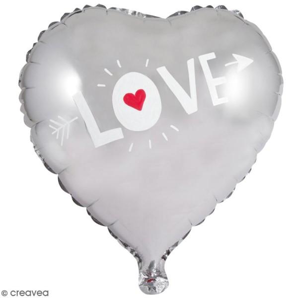 Ballon Aluminium - Coeur - Argenté - 1 pce - Photo n°2