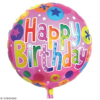 Ballon rond aluminium multicolore - Happy birthday - 1 pce
