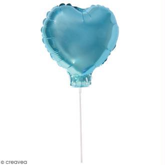 Ballon Aluminium avec tige - Coeur - Bleu clair - 1 pce