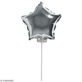 Ballon Aluminium avec tige - Etoile - Argenté - 1 pce