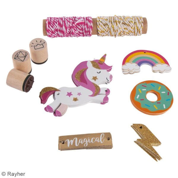 Kit étiquettes et tampons - Licorne - 55 pcs - Photo n°2
