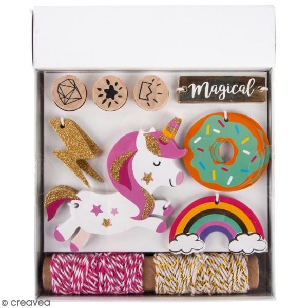 Kit étiquettes et tampons - Licorne - 55 pcs - Photo n°1
