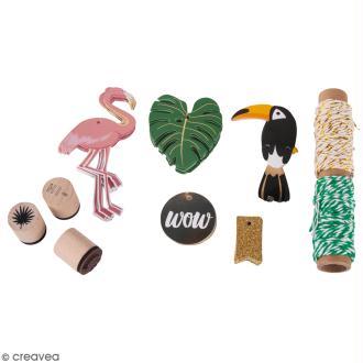 Kit étiquettes et tampons - Tropical - 55 pcs