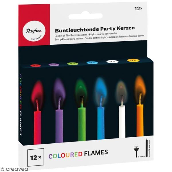 Bougies d'anniversaire multicolores à flamme colorée - 12 pcs - Photo n°1