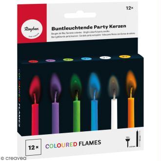 Bougies d'anniversaire multicolores à flamme colorée - 12 pcs