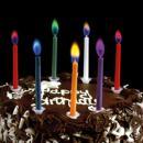Bougies d'anniversaire multicolores à flamme colorée - 12 pcs - Photo n°2