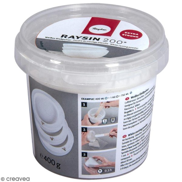 Poudre de moulage Raysin 200 Extra strong - Blanc - 400 g - Photo n°1