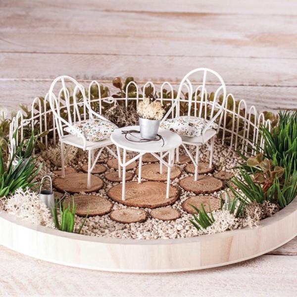 Décorations de jardin miniatures - Petites Table et chaises en métal - 3,5 à 5,5 cm - 3 pcs - Photo n°2