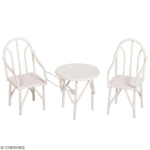 Décorations de jardin miniatures - Petites Table et chaises en métal - 3,5 à 5,5 cm - 3 pcs - Photo n°1