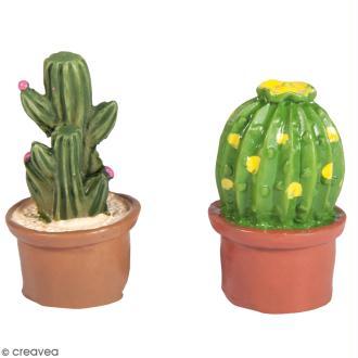 Formes en polyrésine - Cactus - 1,5 x 3 cm - 6 pcs