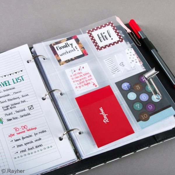 Kit pages My planner notes A5 - Pochette plastique 6 compartiments - 4 pcs - Photo n°2
