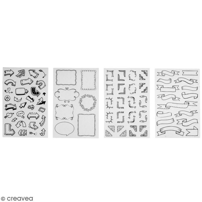 Stickers symboles et embellissements - Noir et blanc - 92 stickers - Photo n°1