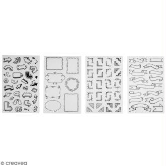 Stickers symboles et embellissements - Noir et blanc - 92 stickers