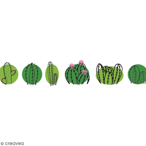 Washi tape Cactus family - 15 mm x 10 m - Photo n°1