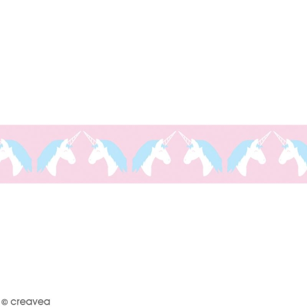 Washi tape Licorne bleue et blanche - 15 mm x 10 m - Photo n°2