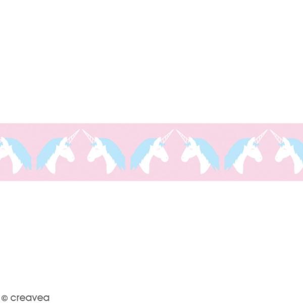 Washi tape Licorne bleue et blanche - 15 mm x 10 m - Photo n°1