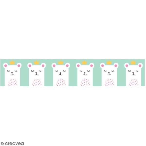 Washi tape Princesse ours blanc - 15 mm x 10 m - Photo n°1