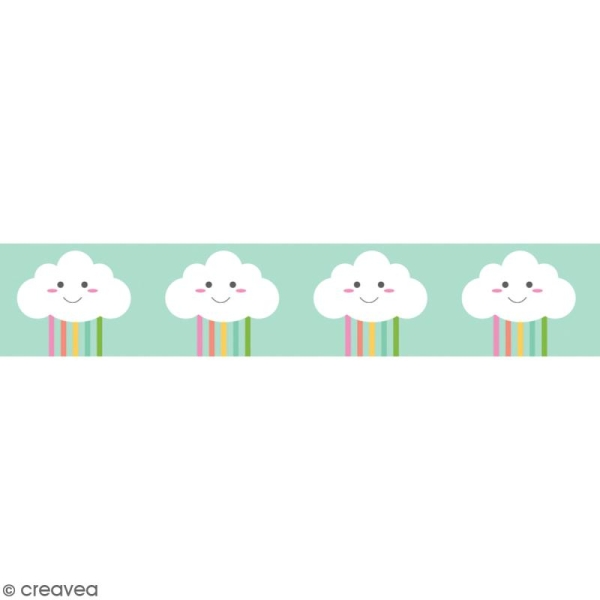 Washi tape Nuage et arc-en-ciel - 15 mm x 10 m - Photo n°1