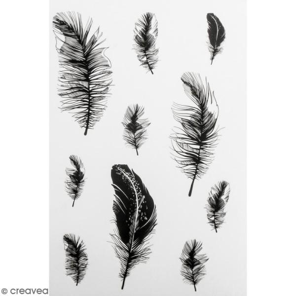 Stickers Peel Off - Noir et blanc - Plumes - 20 autocollants - Photo n°1