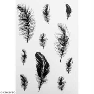 Stickers Peel Off - Noir et blanc - Plumes - 20 autocollants