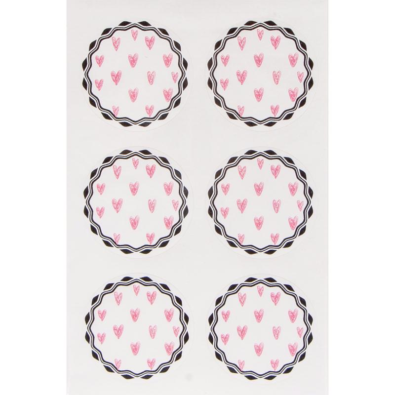 Stickers fantaisie papier - Petits c?urs roses - 24 pcs - Photo n°2
