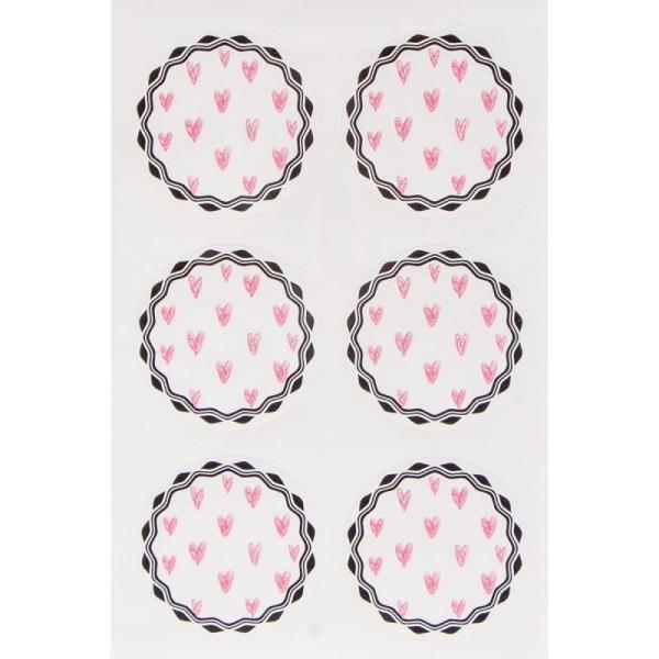 Stickers fantaisie papier - Petits coeurs roses - 24 pcs - Photo n°2