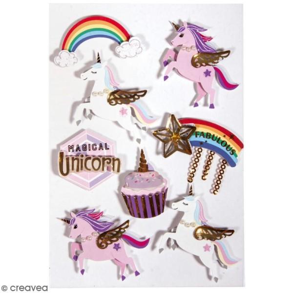 Stickers 3D Licorne - 8 pcs - Photo n°1