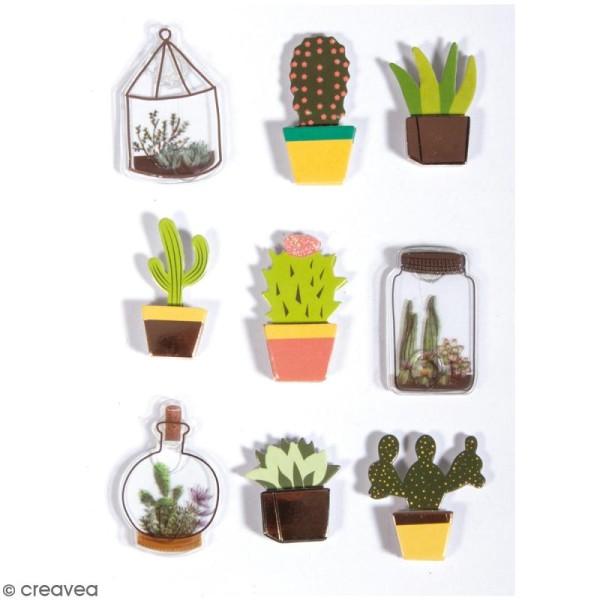 Stickers 3D en papier - Cactus - 9 autocollants - Photo n°1