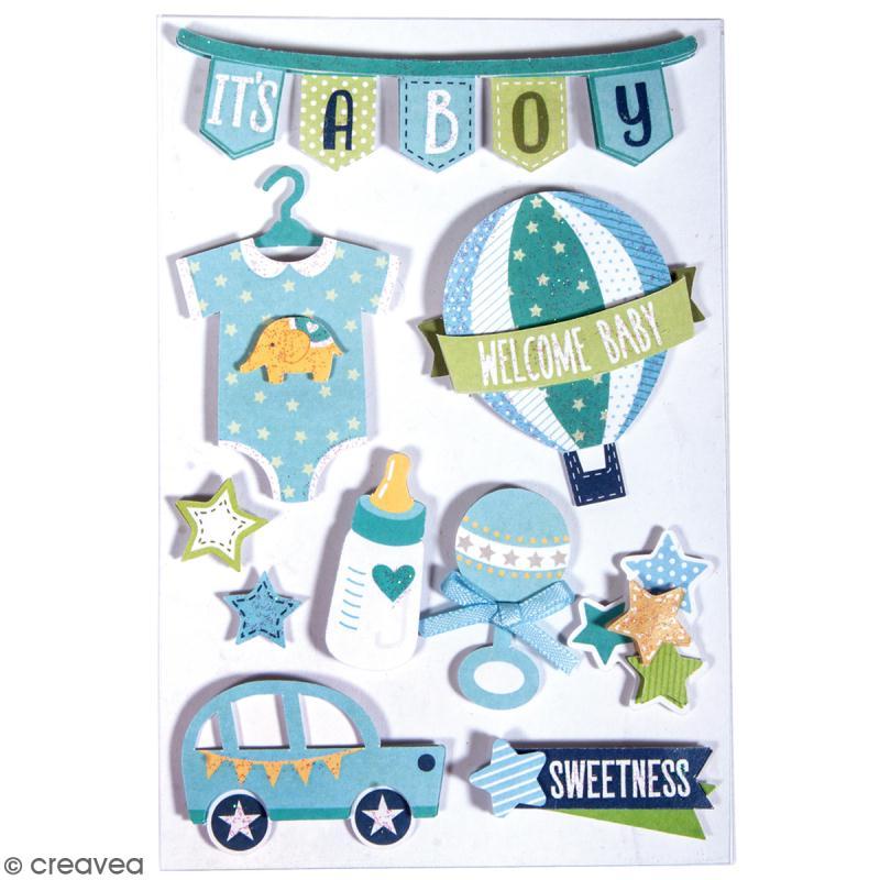 Stickers 3D Bébé garçon - 10 autocollants - Photo n°2
